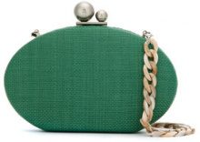 Isla - Straw clutch bag - women - Velvet/Nylon/metal - OS - GREEN