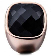 Tamaris Donne-anello acciaio vetro Simona Nero, acciaio inossidabile, 52 (16.6), colore: IP roségold/Schwarz, cod. A03712052