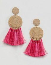 ASOS DESIGN - Orecchini con disco in metallo martellato e nappa - Rosa