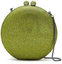Isla - crystal embellished clutch bag - women - Glass Fiber/Velvet - OS - GREEN