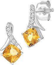 Naava Donna 9 carati oro bianco Rotonda  giallo Quarzo citrino Diamante