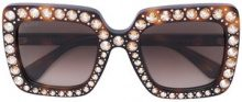 Gucci Eyewear - Occhiali da sole squadrati con cristalli - women - Acetate/Crystal - 53 - BROWN