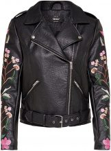 ONLY Embroidery Faux Leather Jacket Women Black