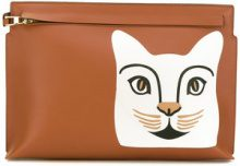 Loewe - cat 'T' pouch - women - Cotton/Linen/Flax/Calf Leather - OS - BROWN