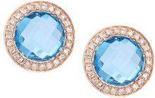 Naava Orecchini da Donna in Oro Rosa 9K con Topazio Blu e Diamante, Taglio Rotondo