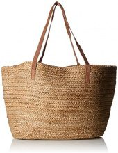 PIECES Pcgracia Straw Shopper - Borse a spalla Donna, Beige (Natural), 5x35x55 cm (B x H T)