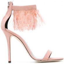Giuseppe Zanotti Design - feather and bead trim sandals - women - Calf Leather/Leather - 37, 37.5, 38, 39, 40, 35.5, 36 - PINK & PURPLE
