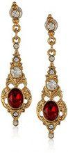 Downton Abbey-Tone Gold-Orecchini pendenti in cristallo, colore: rosso rubino