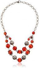 1928 Jewelry Orecchini argento, colore: rosso con perline sfaccettate 45,72 cm (18