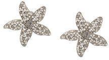Oscar de la Renta - crystal embellished starfish earrings - women - Pewter/glass/Brass/Gold - One Size - METALLIC