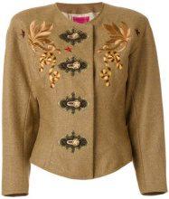 Christian Lacroix Vintage - Giacca con ricamo - women - Wool/Cashmere/Nylon - 38 - BROWN