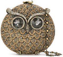 Isla - Coruja crystal embellished clutch bag - women - Metallized Polyester/metal/Glass Fiber - OS - BROWN