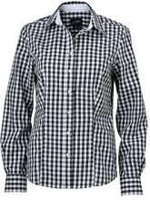 James & Nicholson Ladies' Checked Blouse, Blusa Donna, Grau (Graphite/White), 46