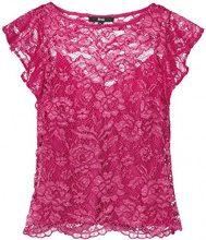 FIND Frill Sleeve Lace Camicia Donna, Rosa (Fushia), 50 (Taglia Produttore: XX-Large)