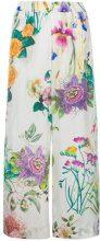 P.A.R.O.S.H. - floral print trousers - women - Silk - L, XS, XXS, M - WHITE