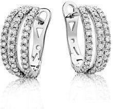 Miore Orecchini Donna Cerchio Diamanti taglio Brillante ct 0.6 Oro Bianco 18 Kt/750
