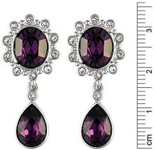 Cristalina Sybil cristalli Swarovski color ametista, a forma di Y-Set di collana e orecchini