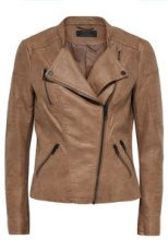 ONLY Leather Look Jacket Women Brown
