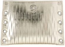 Sonia Rykiel - Borsa clutch con dettaglio laser cut - women - Leather/Polyethylene - OS - METALLIC