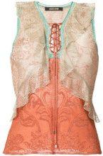 Roberto Cavalli - camicia a strati con scollo a V - women - Nylon/Polyester/Viscose - 42 - Color carne & neutri