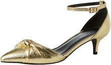 New LookQuack - Scarpe Col Tacco Punta Chiusa Donna, Oro (Gold (Gold)), 39