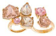 Oscar de la Renta - bold multi crystal ring - women - Pewter/Crystal/Brass/Gold - OS - METALLIC