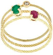 Wouters & Hendrix Gold - Set di anelli decorati - women - 18kt Yellow Gold/Emerald/Ruby/Diamond - 50, 52, 54, 56 - METALLIC