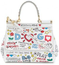 Dolce & Gabbana - small Sicily mural print shoulder bag - women - Leather - One Size - WHITE