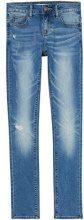 FIND Jeans Skinny Donna con Dettagli da Usura, Blu (Dark Indigo), W26/L32 (Taglia Produttore: X-Small)