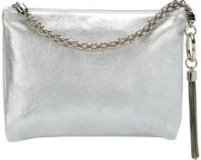 Jimmy Choo - Callie metallic tassel clutch - women - Goat Skin - One Size - GREY