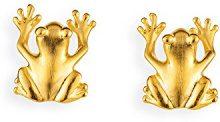 Drachenfels Design - Orecchini a perno, per donna, rana in argento satinato placcato oro - D FR 26/AGG