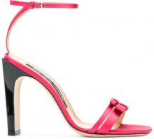 Sergio Rossi - double bow strap sandals - women - Leather/Satin - 34.5, 36.5, 37.5, 38, 38.5, 39, 39.5, 34, 35, 35.5, 36, 40, 37 - PINK & PURPLE