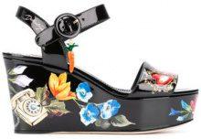 Dolce & Gabbana - Sandali Bianca con zeppa - women - Calf Leather/Leather/Patent Leather - 39, 37.5, 40, 36 - Nero
