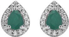 Jewelili Donna 925 argento Pera verde Smeraldo Topazio FASHIONEARRING