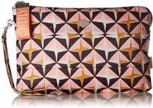 Oilily Ruffles Geometrical Clutch Lhz - Borsette da polso Donna, Rosa (Rose), 1x20x30 cm (B x H T)