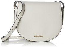 Calvin Klein Frame Saddle Bag - Borse a tracolla Donna, Bianco (Cement), 5x16x19 cm (B x H T)