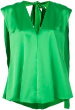 MSGM - Blusa asimmetrica - women - Polyester - 42, 44, 40 - GREEN