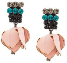 Marni - clip-on flower earrings - women - Silk/Crystal - OS - PINK & PURPLE