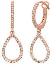 Naava Orecchini Pendenti da Donna, Oro Rosa, 9 Carati, Diamante
