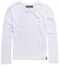 Superdry Viscose Neppy L/S Tee, Top Donna, White04C, XS