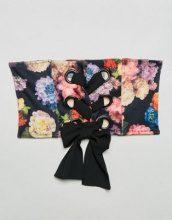ASOS - Cintura stile corsetto con stampa floreale e occhielli - Multicolore