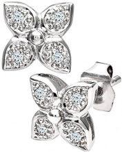 Naava Orecchini a Perno da Donna, Oro Bianco, 9 Carati, Diamante