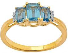 Jewelili Donna  9 carati  oro giallo smeraldo   blu Topazio FASHIONRING