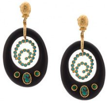 Gas Bijoux - embellished drop earrings - women - Gold Plated Brass/wood/Pietra - OS - BLACK