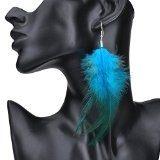 Lureme® stile bohemien piume con piccola piuma nappa ciondola gli orecchini per le donne e le ragazze (02004736-4) blu