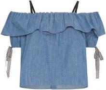 Miu Miu - Top denim con spalle scoperte - women - Cotton - 38, 40, 42, 44, 46, 48 - BLUE