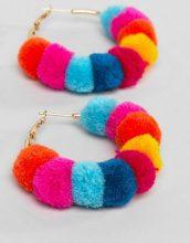 ASOS DESIGN - Orecchini a cerchi con pompon multicolori - Multicolore
