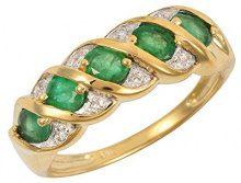Ivy Gems Donna 9 carati oro giallo Ovale verde Smeraldo