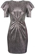 FIND Vestito Effetto Metallizzato e Plissettato Donna, Argento (Silber), 42 (Taglia Produttore: Small)