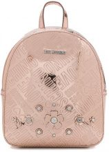 Love Moschino - embossed floral logo mini backpack - women - Polyurethane/Patent Leather - OS - PINK & PURPLE